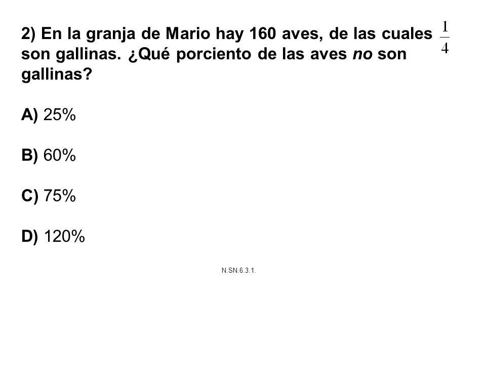 2) En la granja de Mario hay 160 aves, de las cuales son gallinas. ¿Qué porciento de las aves no son gallinas? A) 25% B) 60% C) 75% D) 120% N.SN.6.3.1