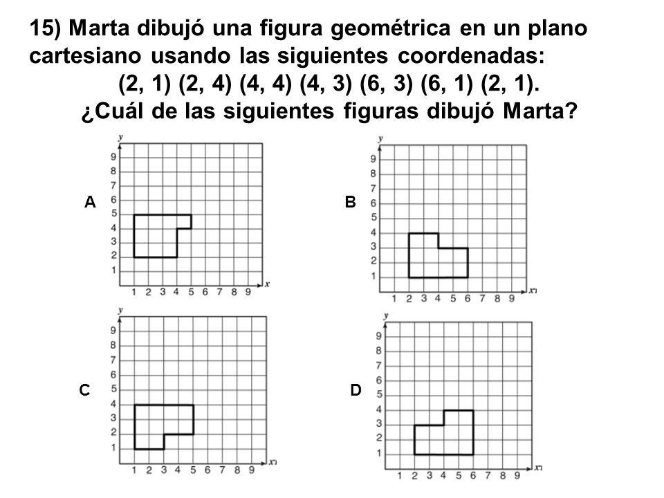 15) Marta dibujó una figura geométrica en un plano cartesiano usando las siguientes coordenadas: (2, 1) (2, 4) (4, 4) (4, 3) (6, 3) (6, 1) (2, 1). ¿Cu