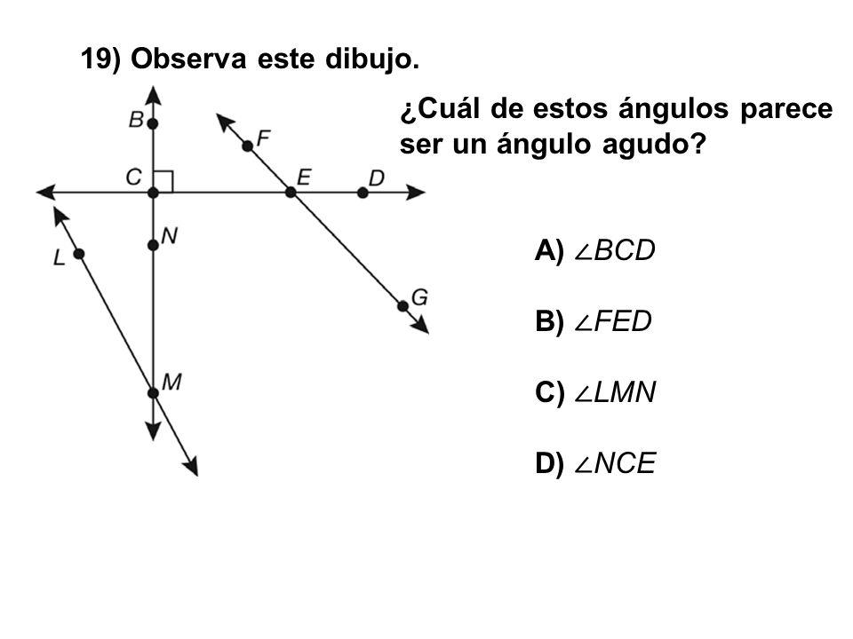 19) Observa este dibujo. ¿Cuál de estos ángulos parece ser un ángulo agudo? A) BCD B) FED C) LMN D) NCE