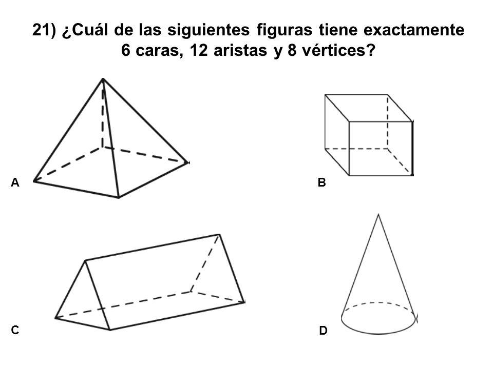 21) ¿Cuál de las siguientes figuras tiene exactamente 6 caras, 12 aristas y 8 vértices? A C B D