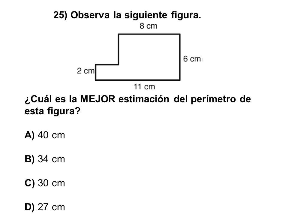 25) Observa la siguiente figura. ¿Cuál es la MEJOR estimación del perímetro de esta figura? A) 40 cm B) 34 cm C) 30 cm D) 27 cm