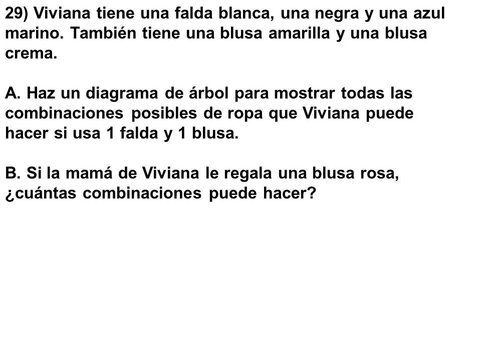 29) Viviana tiene una falda blanca, una negra y una azul marino. También tiene una blusa amarilla y una blusa crema. A. Haz un diagrama de árbol para