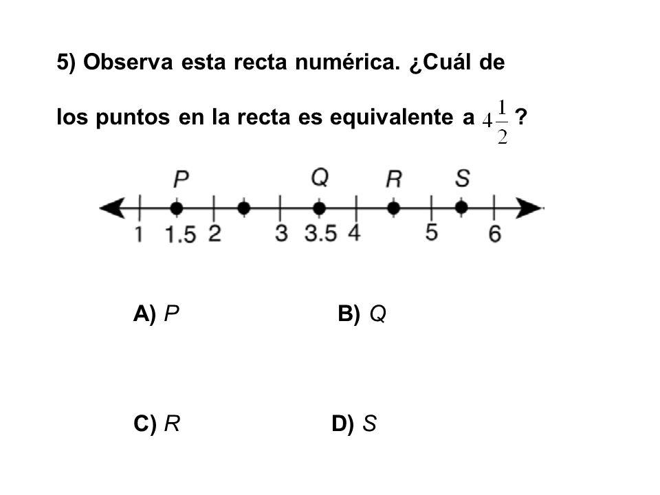 5) Observa esta recta numérica. ¿Cuál de los puntos en la recta es equivalente a ? A) P B) Q C) RD) S
