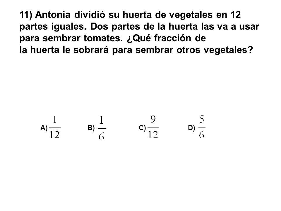 11) Antonia dividió su huerta de vegetales en 12 partes iguales. Dos partes de la huerta las va a usar para sembrar tomates. ¿Qué fracción de la huert