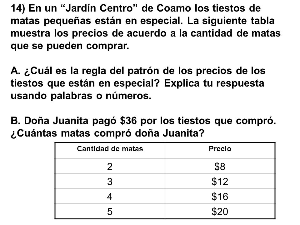 14) En un Jardín Centro de Coamo los tiestos de matas pequeñas están en especial. La siguiente tabla muestra los precios de acuerdo a la cantidad de m