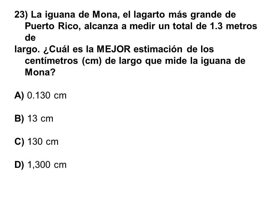 23) La iguana de Mona, el lagarto más grande de Puerto Rico, alcanza a medir un total de 1.3 metros de largo. ¿Cuál es la MEJOR estimación de los cent