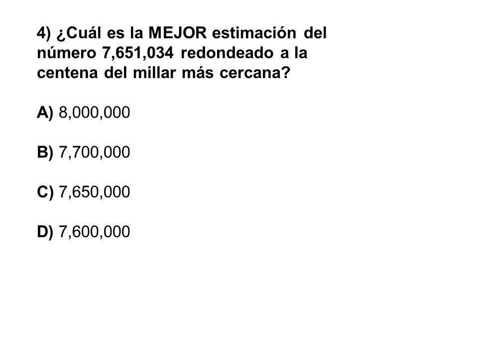 4) ¿Cuál es la MEJOR estimación del número 7,651,034 redondeado a la centena del millar más cercana? A) 8,000,000 B) 7,700,000 C) 7,650,000 D) 7,600,0