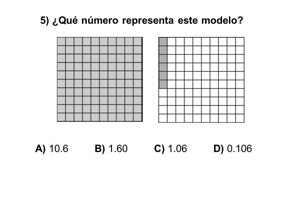 5) ¿Qué número representa este modelo? A) 10.6 B) 1.60 C) 1.06 D) 0.106