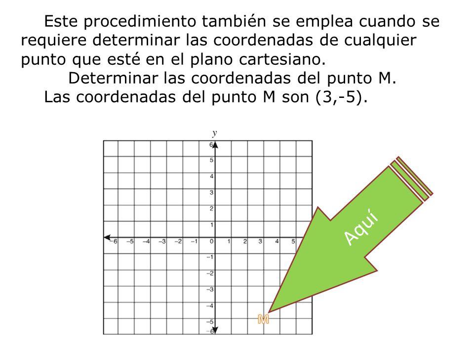 Este procedimiento también se emplea cuando se requiere determinar las coordenadas de cualquier punto que esté en el plano cartesiano. Determinar las