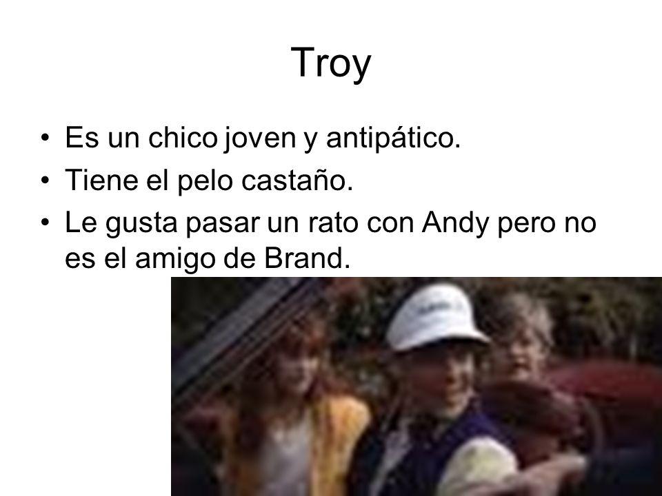 Troy Es un chico joven y antipático. Tiene el pelo castaño. Le gusta pasar un rato con Andy pero no es el amigo de Brand.