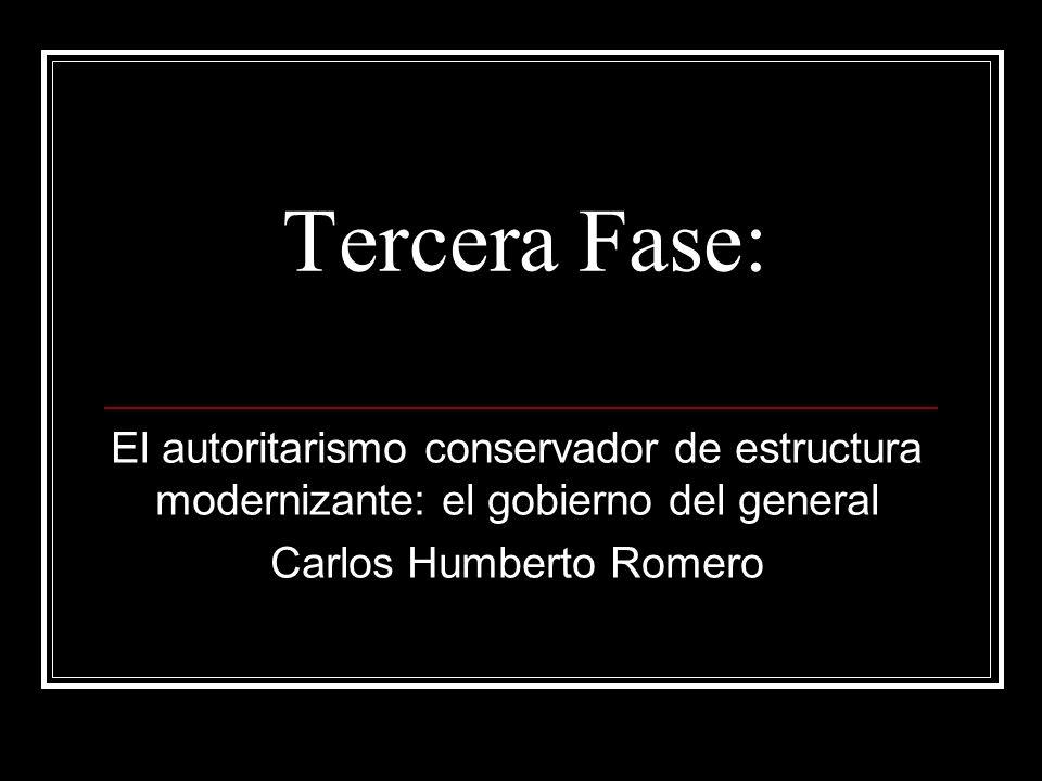 Tercera Fase: El autoritarismo conservador de estructura modernizante: el gobierno del general Carlos Humberto Romero
