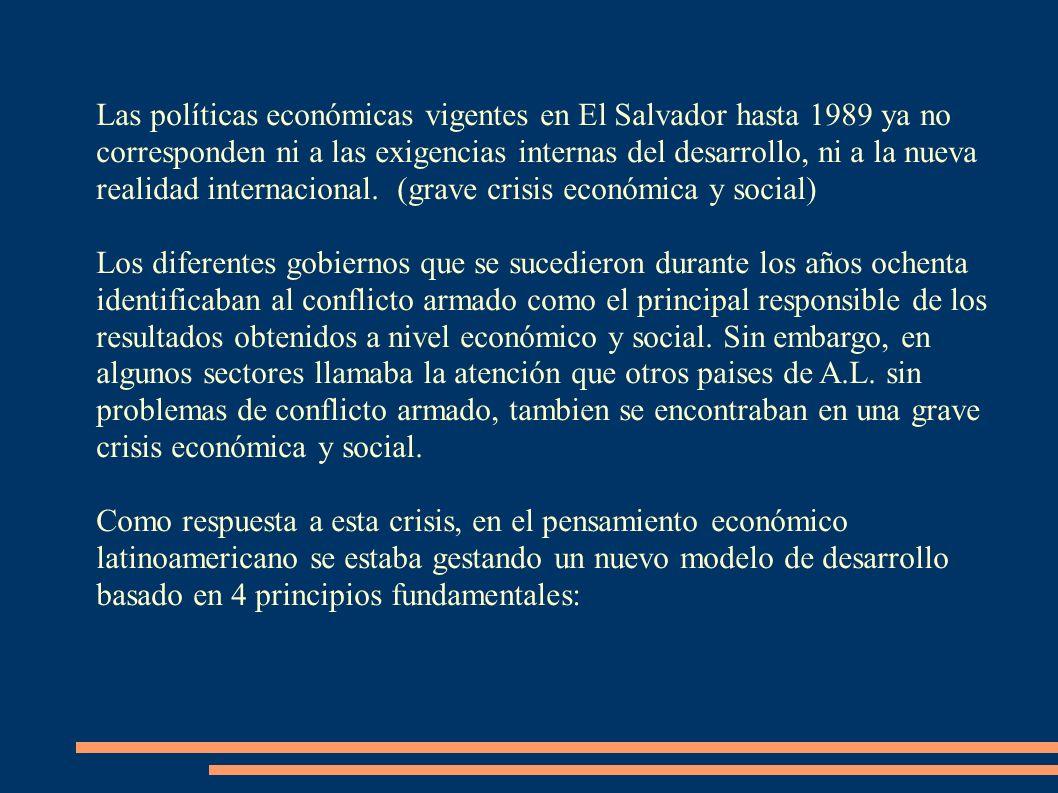 Las políticas económicas vigentes en El Salvador hasta 1989 ya no corresponden ni a las exigencias internas del desarrollo, ni a la nueva realidad int