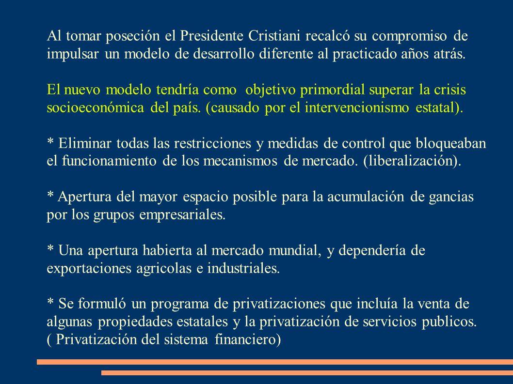 Al tomar poseción el Presidente Cristiani recalcó su compromiso de impulsar un modelo de desarrollo diferente al practicado años atrás. El nuevo model