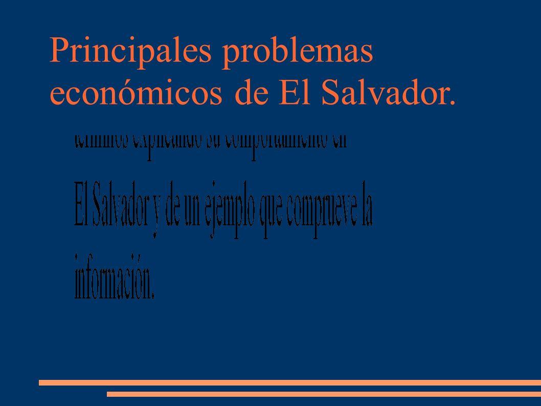 Principales problemas económicos de El Salvador.