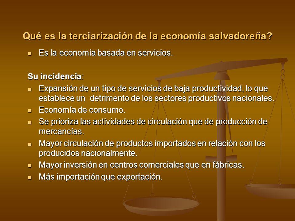 Qué es la terciarización de la economía salvadoreña? Es la economía basada en servicios. Es la economía basada en servicios. Su incidencia: Expansión