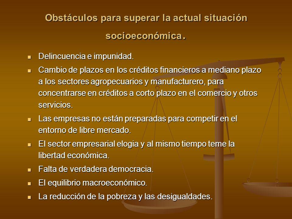Obstáculos para superar la actual situación socioeconómica. Delincuencia e impunidad. Delincuencia e impunidad. Cambio de plazos en los créditos finan