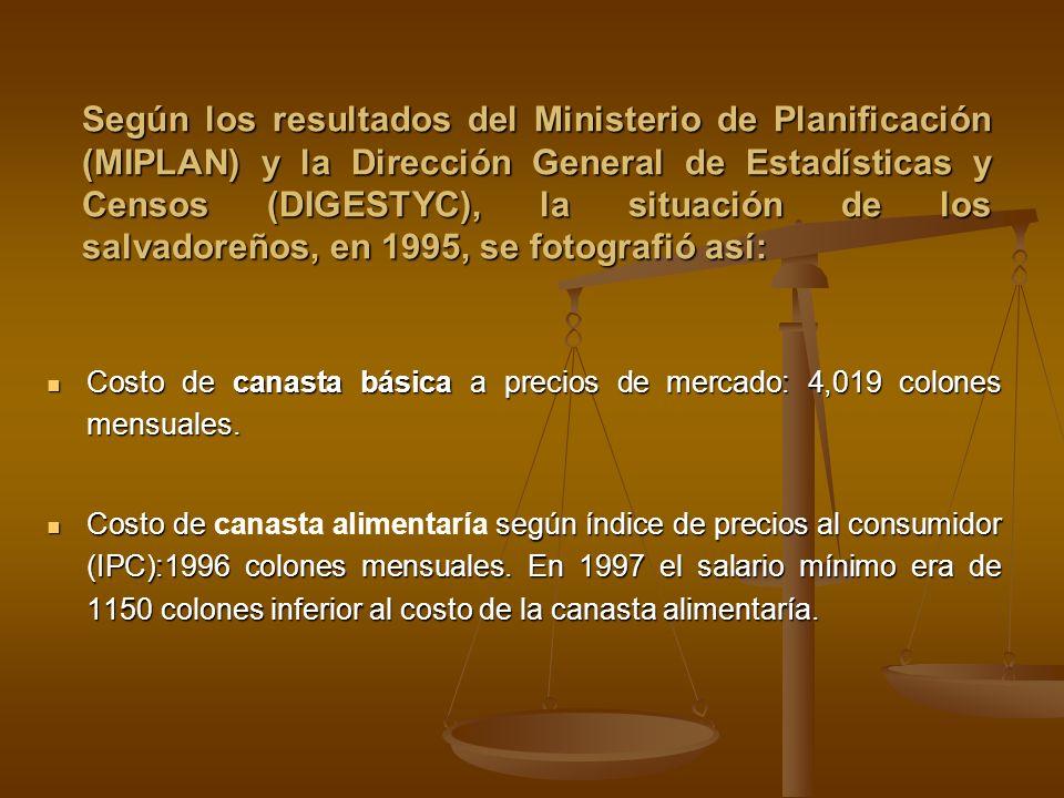Según los resultados del Ministerio de Planificación (MIPLAN) y la Dirección General de Estadísticas y Censos (DIGESTYC), la situación de los salvador