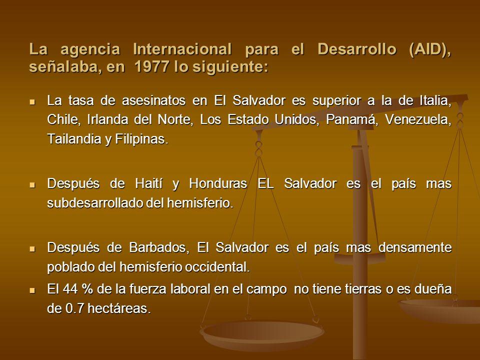 La agencia Internacional para el Desarrollo (AID), señalaba, en 1977 lo siguiente: La tasa de asesinatos en El Salvador es superior a la de Italia, Ch