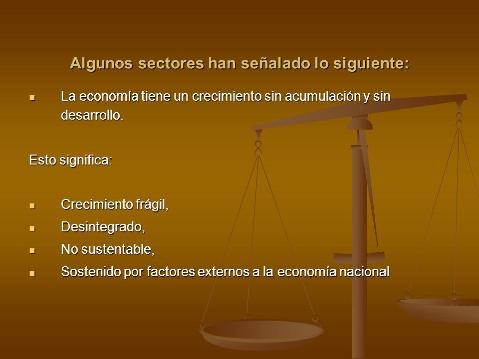 Algunos sectores han señalado lo siguiente: La economía tiene un crecimiento sin acumulación y sin desarrollo. La economía tiene un crecimiento sin ac