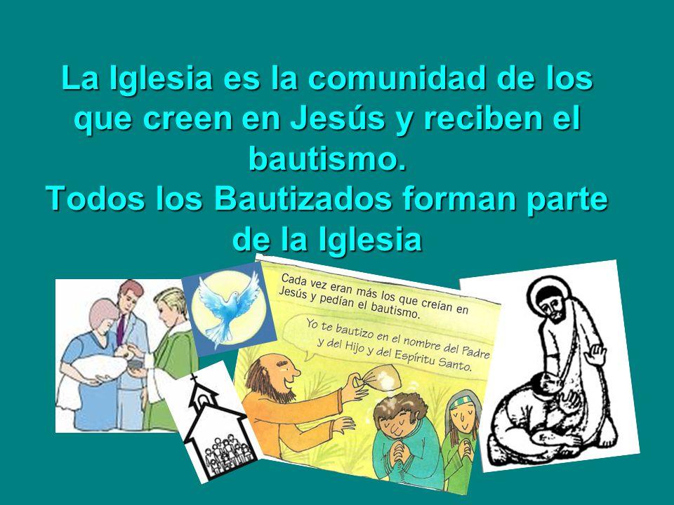 La Iglesia es la comunidad de los que creen en Jesús y reciben el bautismo. Todos los Bautizados forman parte de la Iglesia