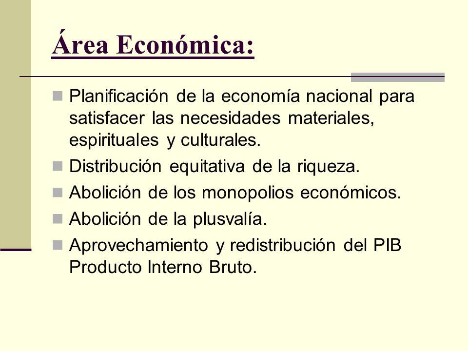 Área Económica: Planificación de la economía nacional para satisfacer las necesidades materiales, espirituales y culturales.