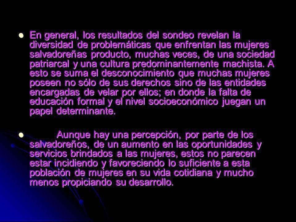 En general, los resultados del sondeo revelan la diversidad de problemáticas que enfrentan las mujeres salvadoreñas producto, muchas veces, de una sociedad patriarcal y una cultura predominantemente machista.