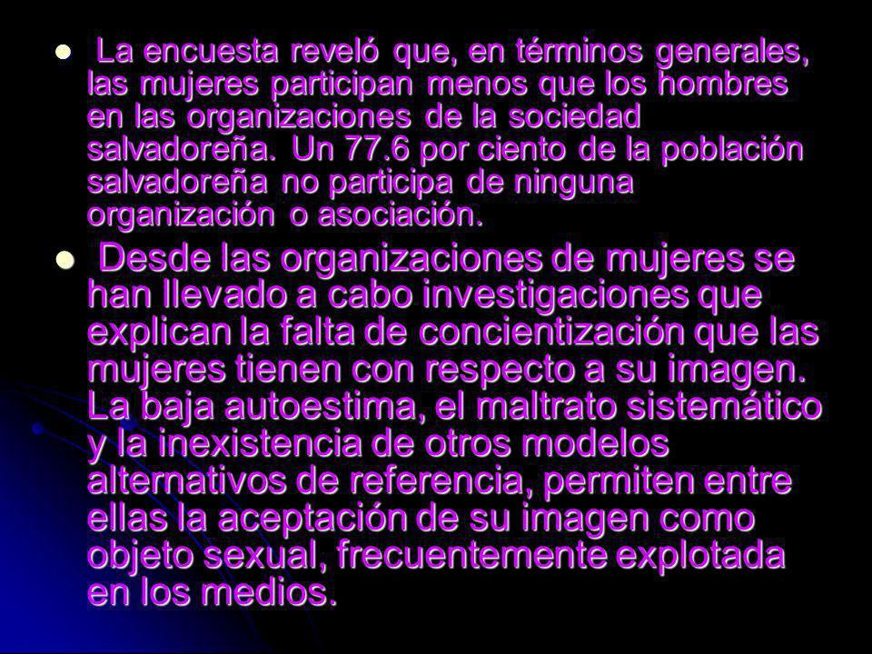 La encuesta reveló que, en términos generales, las mujeres participan menos que los hombres en las organizaciones de la sociedad salvadoreña.