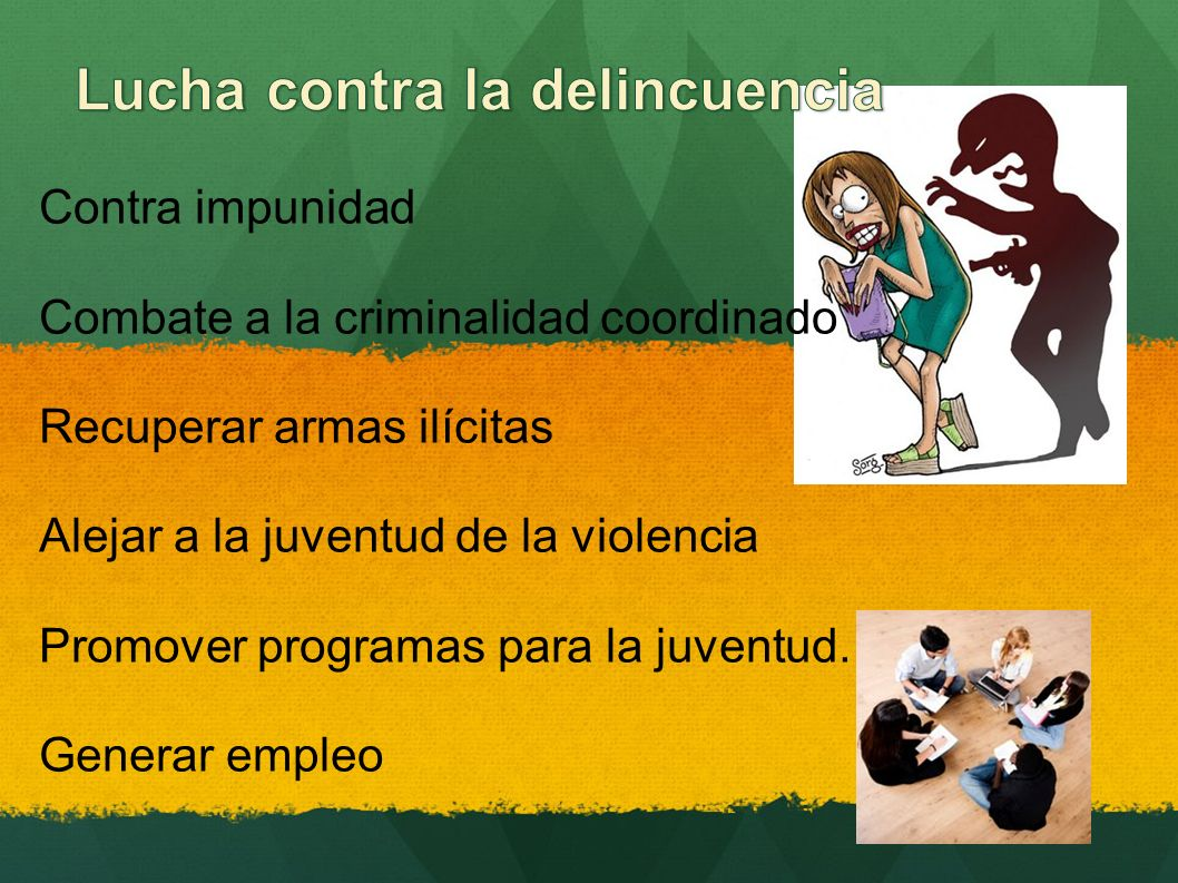 Contra impunidad Combate a la criminalidad coordinado Recuperar armas ilícitas Alejar a la juventud de la violencia Promover programas para la juventud.