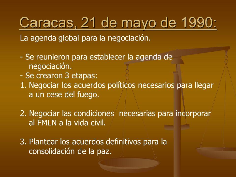 Caracas, 21 de mayo de 1990: La agenda global para la negociación.