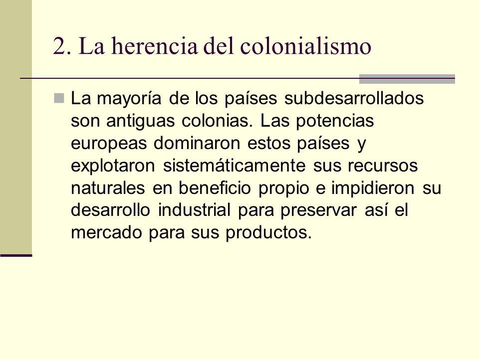 2. La herencia del colonialismo La mayoría de los países subdesarrollados son antiguas colonias. Las potencias europeas dominaron estos países y explo