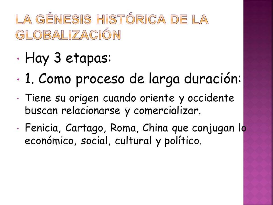 Hay 3 etapas: 1. Como proceso de larga duración: Tiene su origen cuando oriente y occidente buscan relacionarse y comercializar. Fenicia, Cartago, Rom