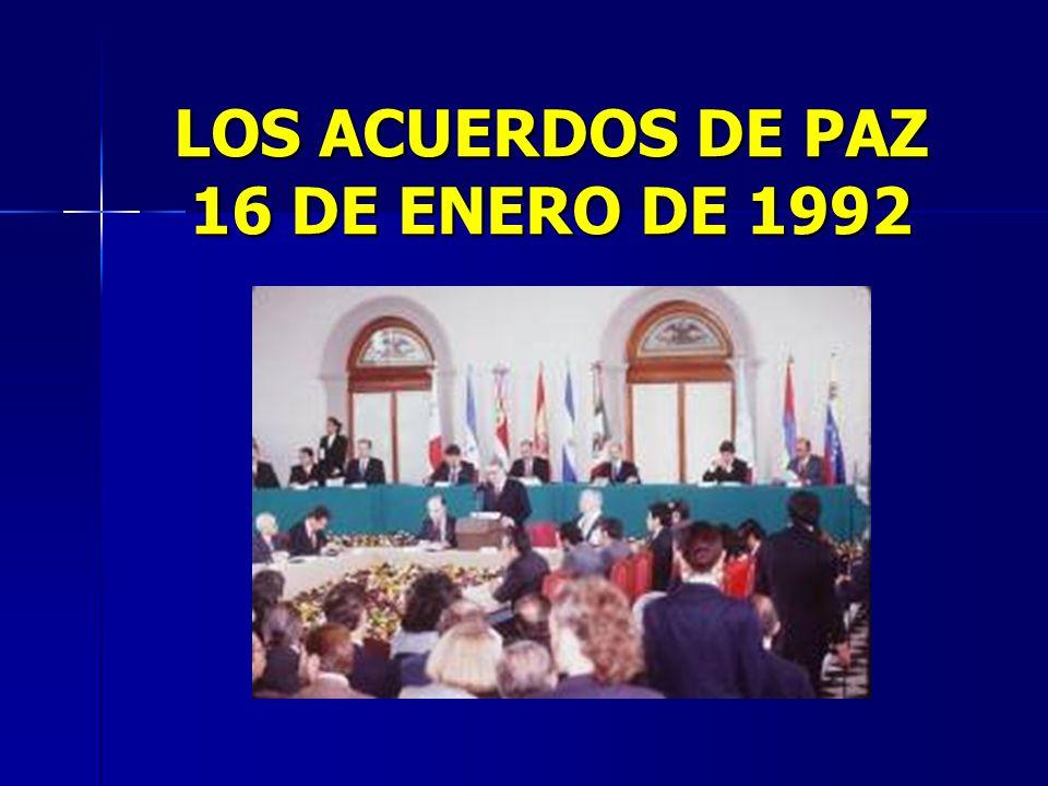 El 16 de enero de 1992 se firmó en Chapultepec, México un bloque de acuerdos políticos que abarcaba el acuerdo de derechos humanos (suscritos en Costa Rica) acuerdos de reforma Constitucional (firmados en México) y los acuerdos de Nueva York I y Nueva York II.