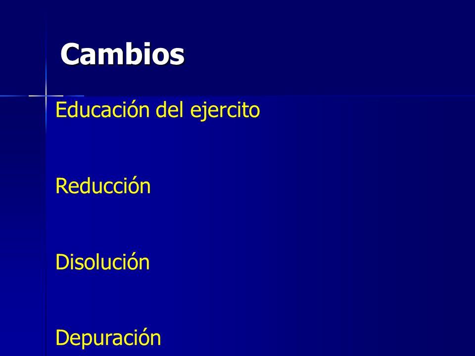 Cambios Educación del ejercito Reducción Disolución Depuración