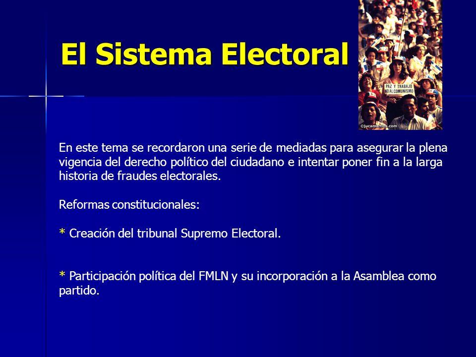 El Sistema Electoral En este tema se recordaron una serie de mediadas para asegurar la plena vigencia del derecho político del ciudadano e intentar poner fin a la larga historia de fraudes electorales.