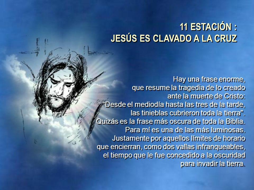 Hay una frase enorme, que resume la tragedia de lo creado ante la muerte de Cristo: Desde el mediodía hasta las tres de la tarde, las tinieblas cubrie