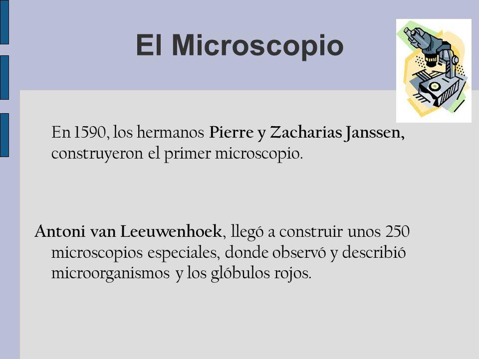 El Microscopio En 1590, los hermanos Pierre y Zacharias Janssen, construyeron el primer microscopio.