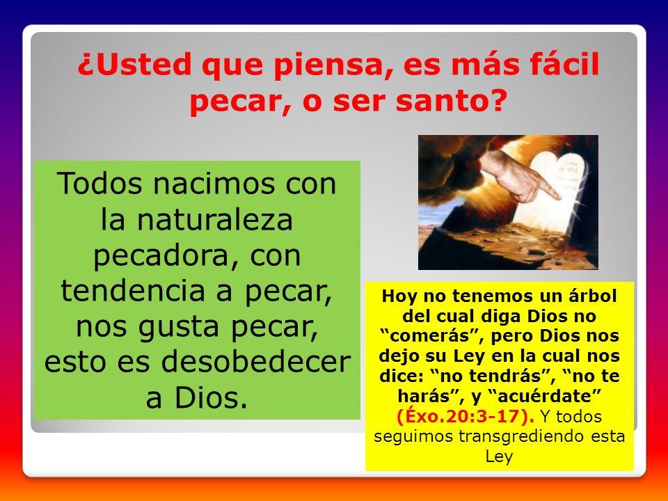 ¿Usted que piensa, es más fácil pecar, o ser santo? Todos nacimos con la naturaleza pecadora, con tendencia a pecar, nos gusta pecar, esto es desobede