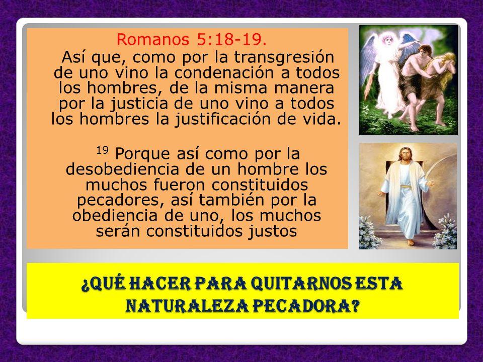 ¿Qué hacer para quitarnos esta naturaleza pecadora? Romanos 5:18-19. Así que, como por la transgresión de uno vino la condenación a todos los hombres,