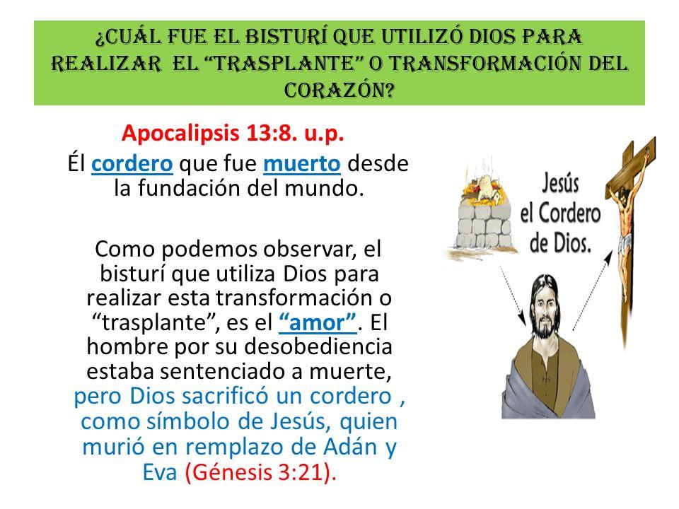 ¿Cuál fue el bisturí que utilizó dios para realizar el trasplante o transformación del corazón? Apocalipsis 13:8. u.p. Él cordero que fue muerto desde