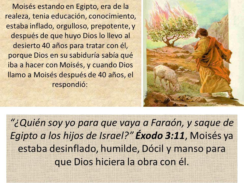 Moisés estando en Egipto, era de la realeza, tenia educación, conocimiento, estaba inflado, orgulloso, prepotente, y después de que huyo Dios lo llevo