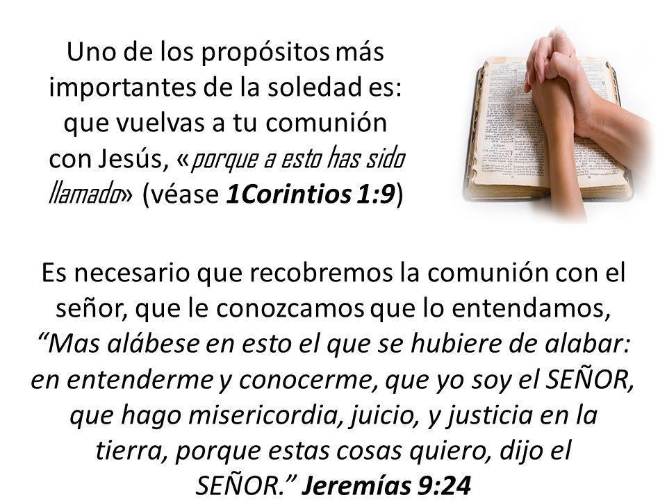Uno de los propósitos más importantes de la soledad es: que vuelvas a tu comunión con Jesús, « porque a esto has sido llamado » (véase 1Corintios 1:9)