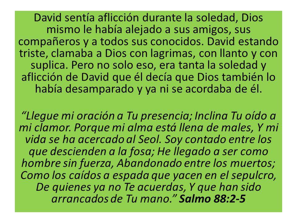 David sentía aflicción durante la soledad, Dios mismo le había alejado a sus amigos, sus compañeros y a todos sus conocidos. David estando triste, cla