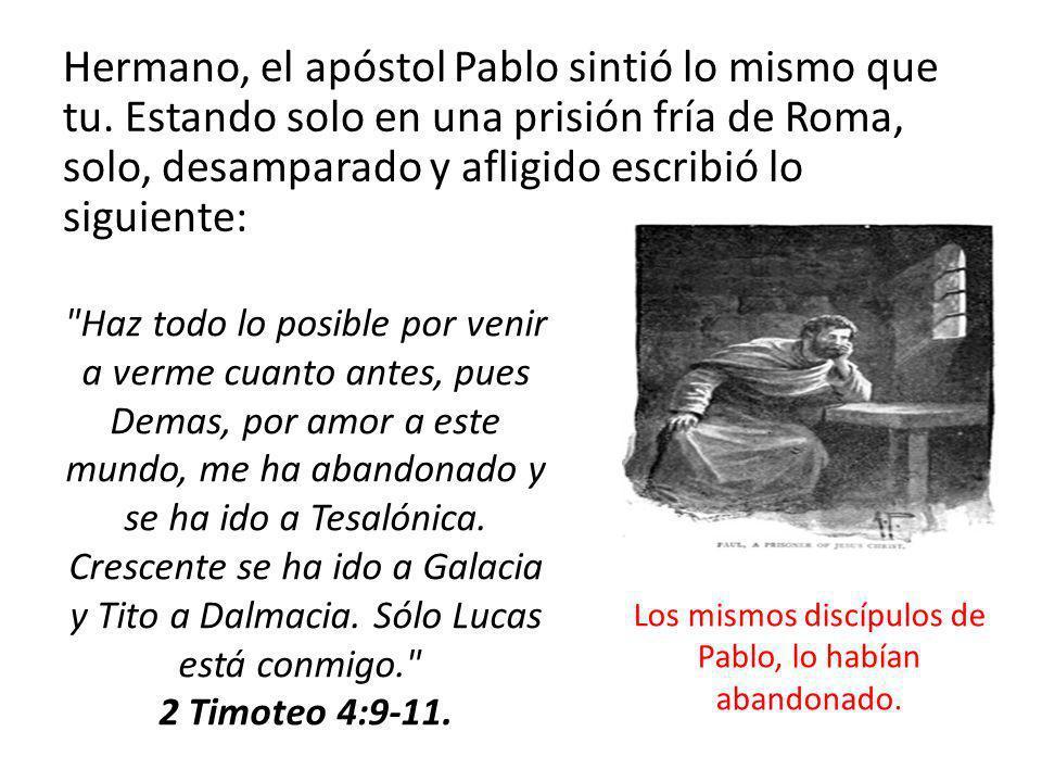 Hermano, el apóstol Pablo sintió lo mismo que tu. Estando solo en una prisión fría de Roma, solo, desamparado y afligido escribió lo siguiente: