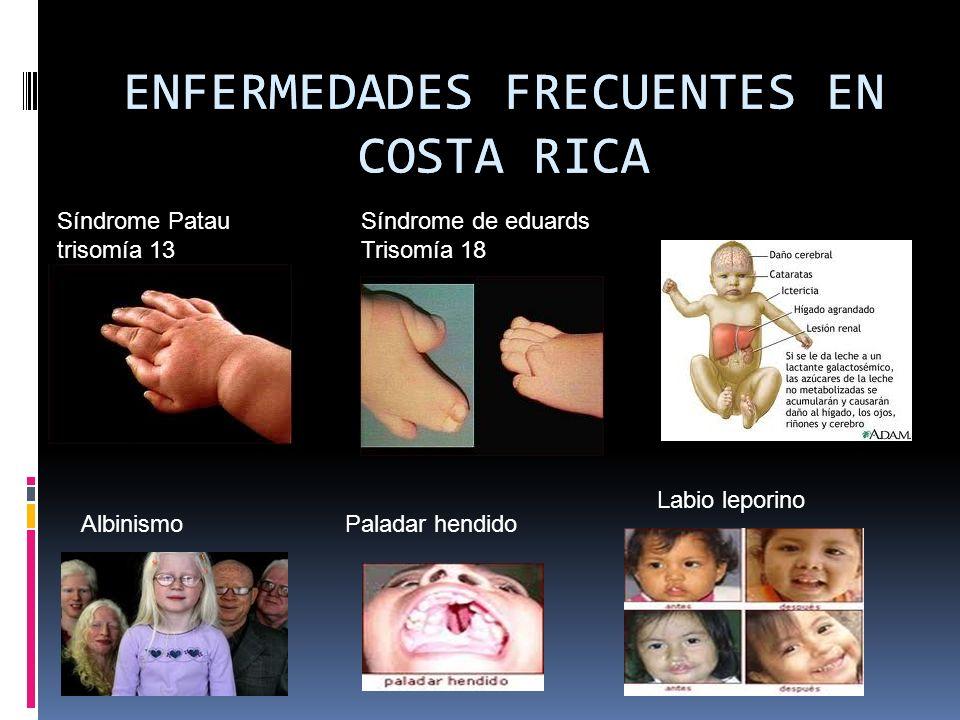 ENFERMEDADES FRECUENTES EN COSTA RICA Síndrome Patau trisomía 13 ENFERMEDADES FRECUENTES EN COSTA RICA Síndrome de eduards Trisomía 18 Galactosemia Al