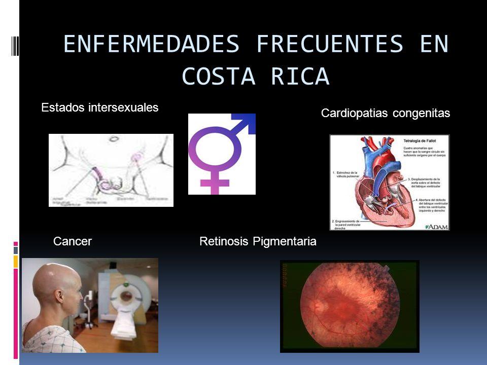 ENFERMEDADES FRECUENTES EN COSTA RICA Estados intersexuales Cardiopatias congenitas Retinosis PigmentariaCancer
