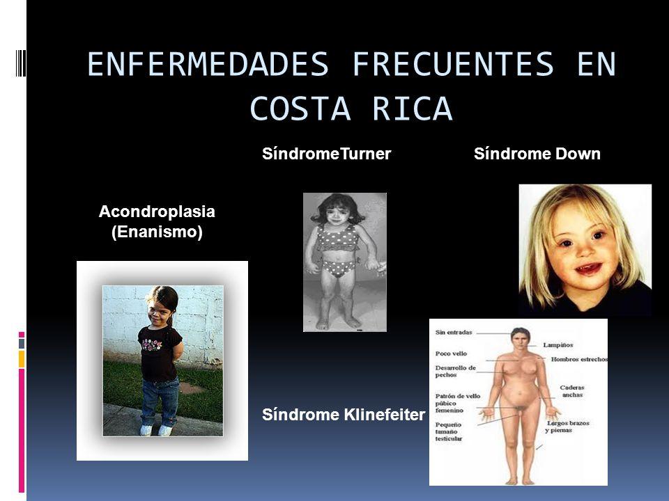ENFERMEDADES FRECUENTES EN COSTA RICA Síndrome Patau trisomía 13 ENFERMEDADES FRECUENTES EN COSTA RICA Síndrome de eduards Trisomía 18 Galactosemia AlbinismoPaladar hendido Labio leporino
