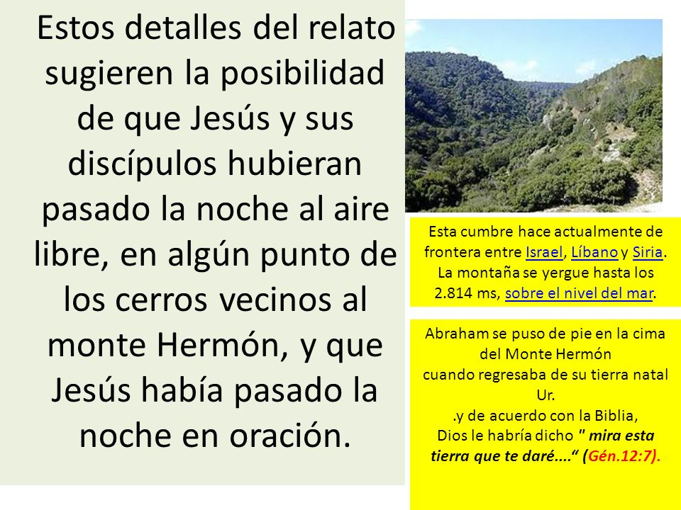 Estos detalles del relato sugieren la posibilidad de que Jesús y sus discípulos hubieran pasado la noche al aire libre, en algún punto de los cerros v