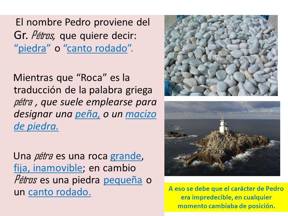 El nombre Pedro proviene del Gr. Pétros, que quiere decir:piedra o canto rodado. Mientras que Roca es la traducción de la palabra griega pétra, que su
