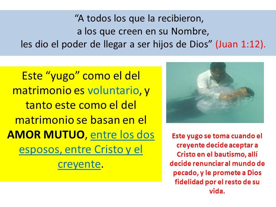 A todos los que la recibieron, a los que creen en su Nombre, les dio el poder de llegar a ser hijos de Dios (Juan 1:12). Este yugo como el del matrimo