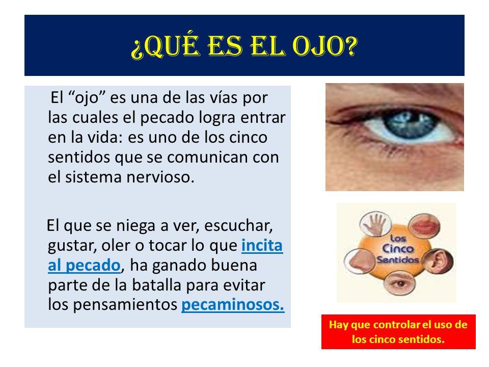 ¿Qué es el ojo? El ojo es una de las vías por las cuales el pecado logra entrar en la vida: es uno de los cinco sentidos que se comunican con el siste